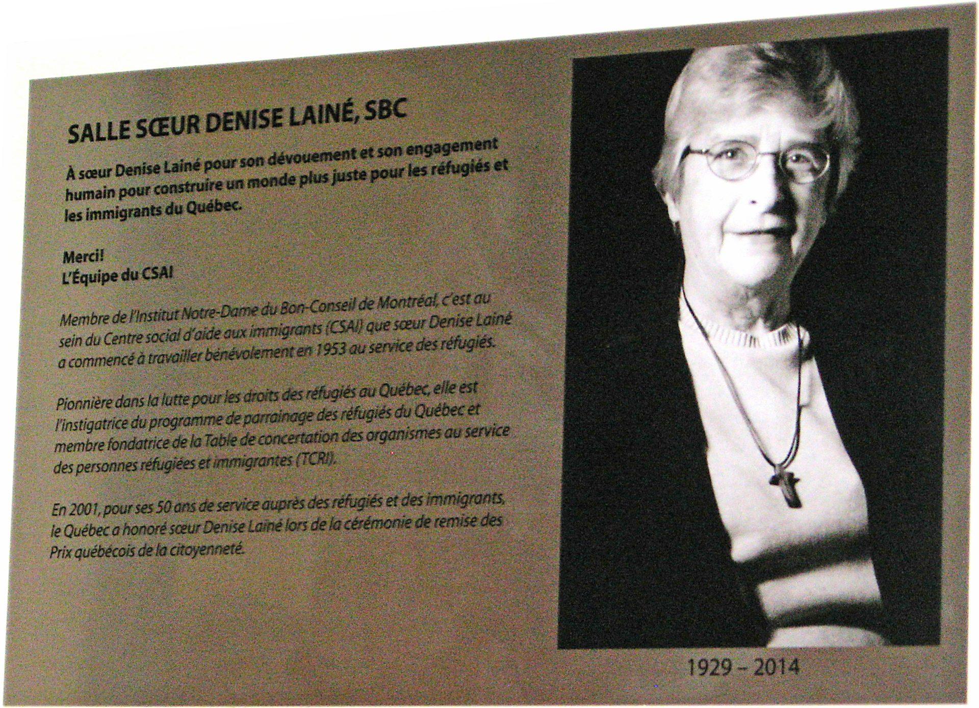 Plaque murale à la mémoire de Denise Lainé, SBC dans une des salles du CSAI dédicacée à son nom.