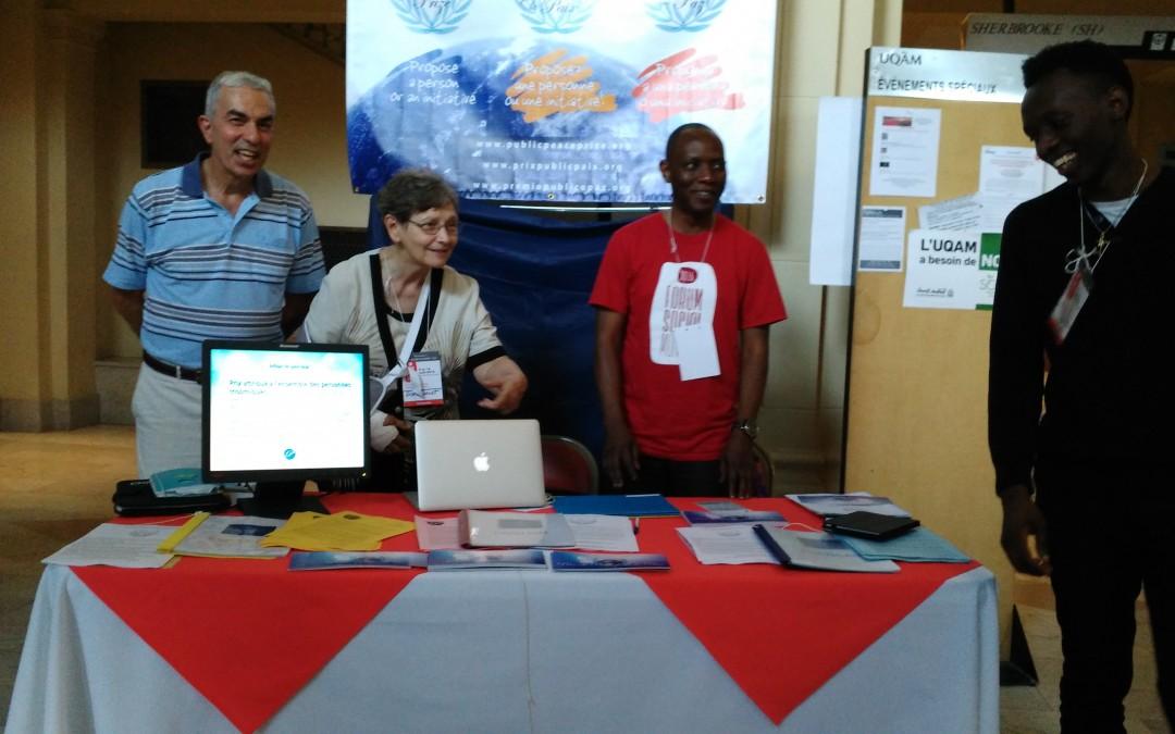 Kiosque «Prix du Public pour la Paix» au Forum Social Mondial